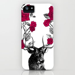 The Stag and Roses | Red iPhone Case