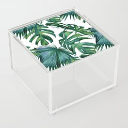 Classic Palm Leaves Tropical Jungle Green Acrylic Box