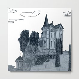house with a turret and trees Metal Print