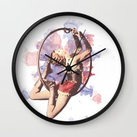 water color Wall Clocks featuring Water Color by Camila Agostini