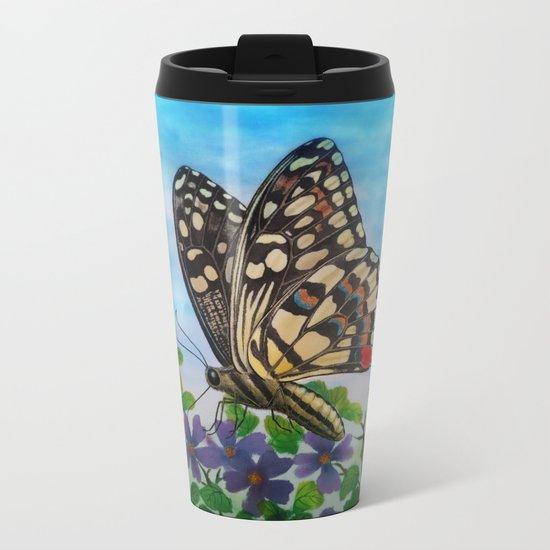 Chequered swallowtail  Metal Travel Mug