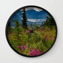 Alaskan Glacier & Fireweed Wall Clock