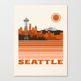 Seattle retro travel poster 70s color vibes minimal washington state gifts Canvas Print