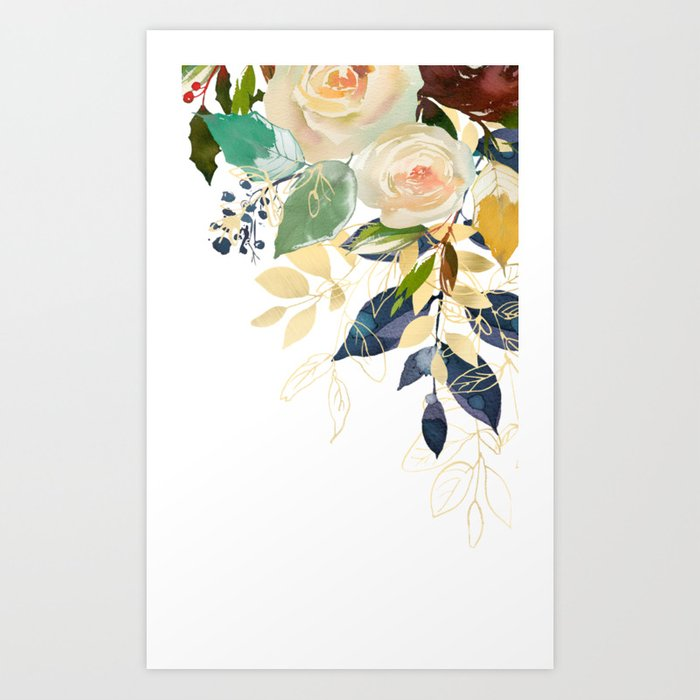 Beige roses and golden leaves Kunstdrucke