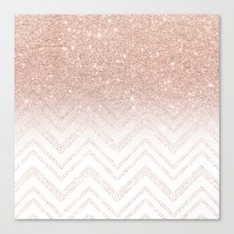 Modern faux rose gold glitter ombre modern chevron stitches pattern Canvas Print