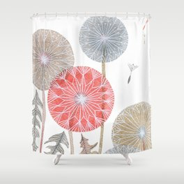 Red dandelions, watercolor Shower Curtain
