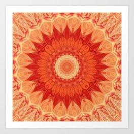 Mandala orange red Art Print
