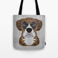 boxer Tote Bags featuring Boxer by ArtLovePassion