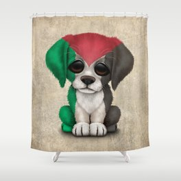Cute Puppy Dog with flag of Palestine Shower Curtain