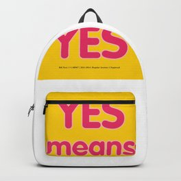 Yes means Yes - SB967 - color Backpack