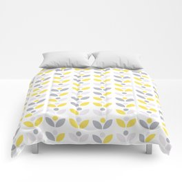 Yellow and Grey Abstract Flower Pattern #society6 #decor #buyart #artprint Comforters