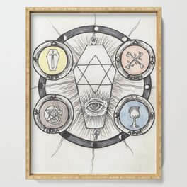 The Tarot Suits Alchemical Drawing Serving Tray