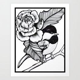 Chickadee & Peony Art Print