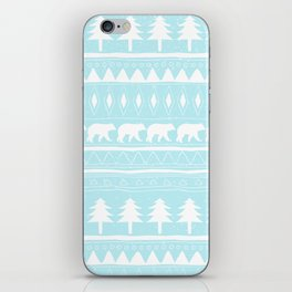 From Bears Winter And Christmas-Cute teal XMas Pattern iPhone Skin