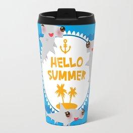 Hello Summer. Kawaii hammerhead shark Travel Mug