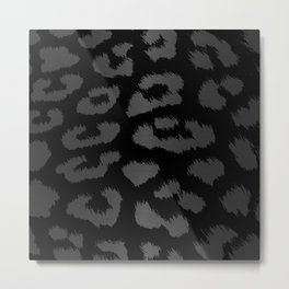 Black & Gray Metallic Leopard Print Metal Print