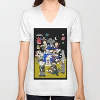dr who V-neck T-shirts featuring Dr Who Kiddies by chrismcquinlan
