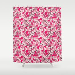 Ginkgo Leaves in Vibrant Hot Pink Tones Shower Curtain