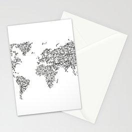 Kanji Calligraphy World Map Stationery Cards