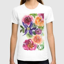 clematis/rose/peony in watercolor T-shirt