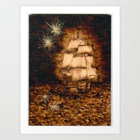 peter pan Art Prints featuring Peter Pan by Red, the artist