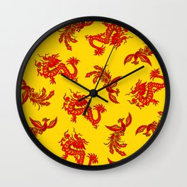 Phoenix Dragon Feng Shui Wall Clock
