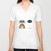 wall e V-neck T-shirts featuring Wall-E and Eve by Steph Dillon