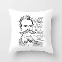 nietzsche Throw Pillows featuring Friedrich Nietzsche by Alexandra Ensign