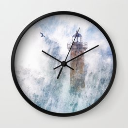 Storm in the lighthouse Wall Clock