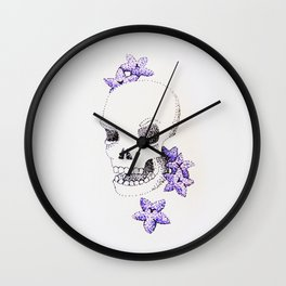 Skull Flower Wall Clock