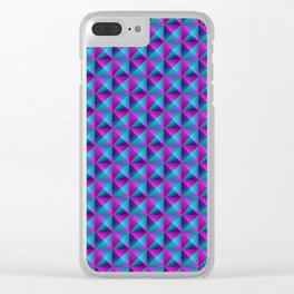 Tiled pattern of dark blue rhombuses and purple triangles in a zigzag and pyramid. Clear iPhone Case