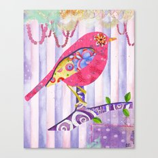 Pink Pearls And Florals Bird Canvas Print