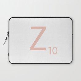 Pink Scrabble Letter Z - Scrabble Tile Art and Accessories Laptop Sleeve
