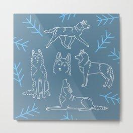 Siberian Husky Pattern (Blue-Gray) Metal Print