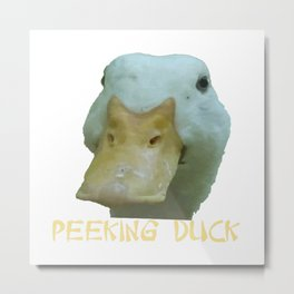 Peeking Duck With Fun Oriental Text Metal Print