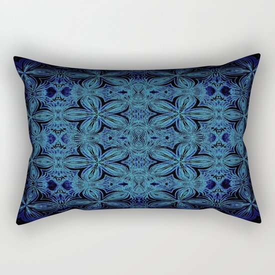 Turquoise Teal Delicate Flowers Rectangular Pillow