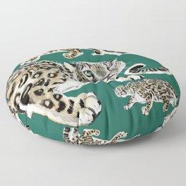 Snow leopard in green Floor Pillow