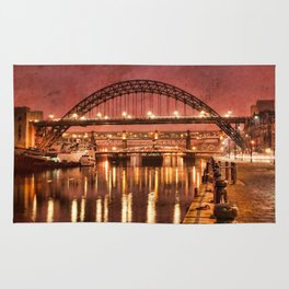 Tyne Bridge at Night Rug
