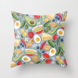 Healthy Snacks on Light Blue Throw Pillow