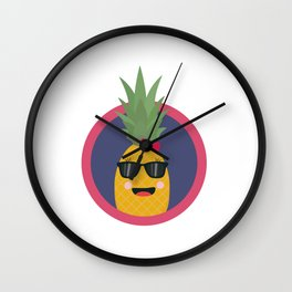 Cool pineapple with sunglasses Wall Clock