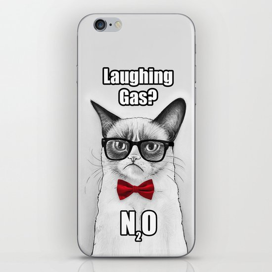 Grumpy Chemistry Cat Geek Science Meme Whimsical Animals in Glasses iPhone & iPod Skin