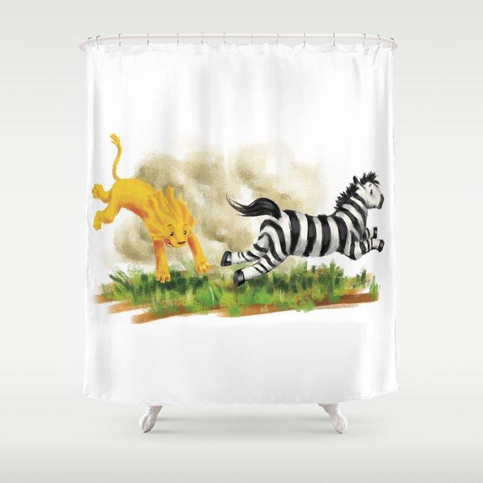 Lion Zebra Shower Curtain