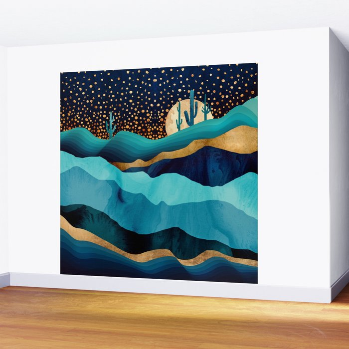 Indigo Desert Night Wall Mural by spacefrogdesigns Society6