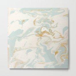 Marble - Cream & Blue Metal Print