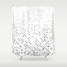 Grey Square Pattern Background Shower Curtain