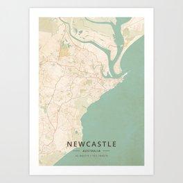 Newcastle, Australia - Vintage Map Art Print
