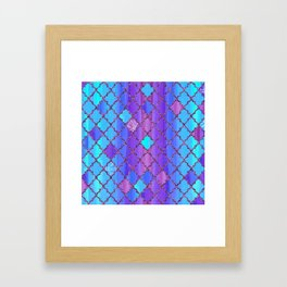 Moroccan Tile Pattern In Purple And Aqua Blue Framed Art Print