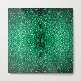 Beautiful Emerald Green glitter sparkles Metal Print