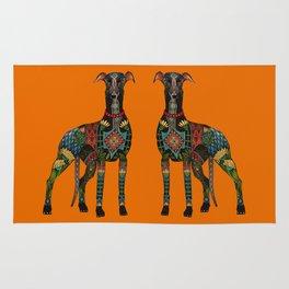 greyhound orange Rug