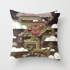 Rising Sun Dragon Throw Pillow
